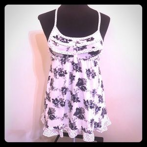 Decree - Off-White Tank Top with Gray Flowers